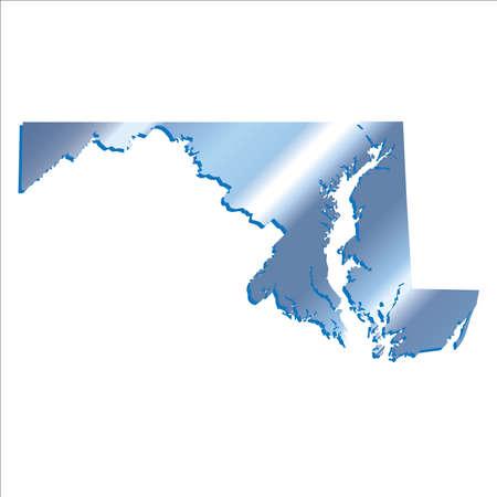 3D Maryland (USA) Iridium Blue Boundary map with shadow Illustration