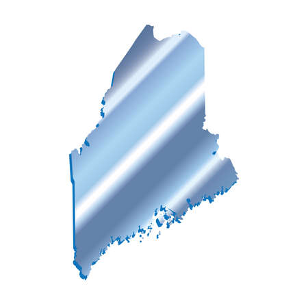 3D Maine (USA) Iridium Blue Boundary map with shadow