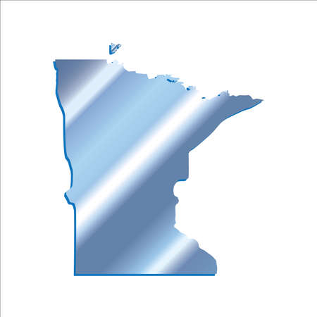 3D Minnesota (USA) Iridium Blue Boundary map with shadow