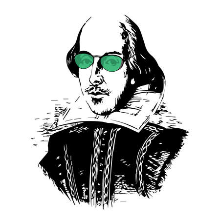 spoof: Spoof Vector Drawing of The Bard with Green-Tinted Glasses