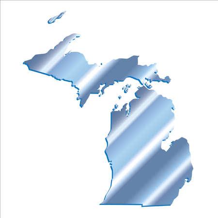 michigan: 3D Michigan (USA) Iridium Blue Boundary map with shadow Illustration
