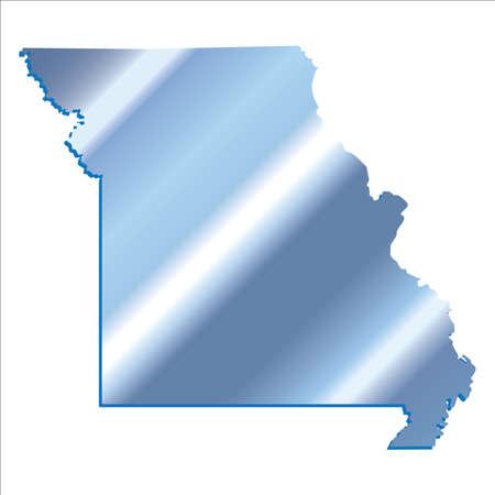 3D Missouri (USA) Iridium Blue outline map with shadow