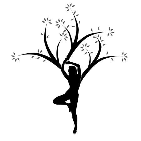 Vector Yoga Tree Woman People Concept Black Design