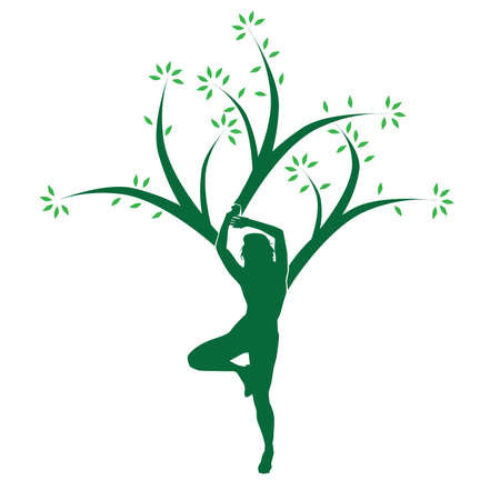 Vector Yoga Tree Woman People Concept Design Illustration