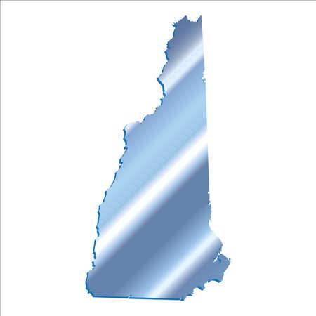 mercator: 3D New Hampshire State USA Iridium Blue map