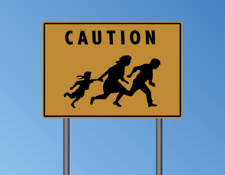 trip hazard: Vector Caution Mexican Border Yellow Sign Illustration Illustration
