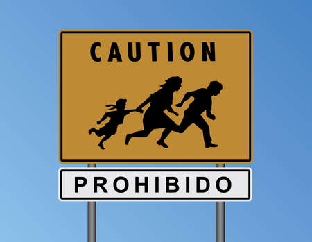 trip hazard: Vector Caution Prohibido Mexican Border Yellow Sign Illustration version 2 Illustration