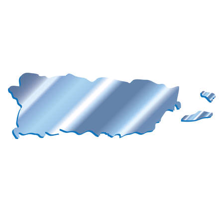 3D Puerto Rico Iridium Blue outline map with shadow