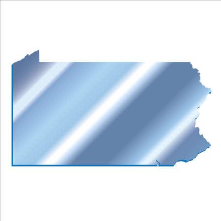 mercator: 3D Pennsylvania State Iridium Blue outline map with shadow Illustration