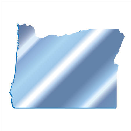 3D Oregon State Iridium Blue outline map with shadow