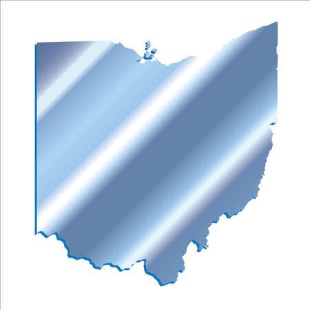 mercator: 3D Ohio State USA Iridium Blue outline map Illustration