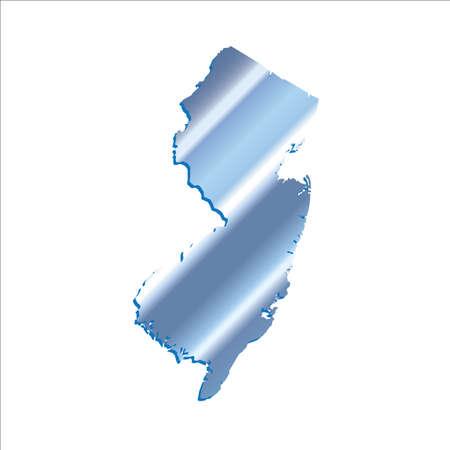 mercator: 3D New Jersey State USA Iridium Blue map Illustration