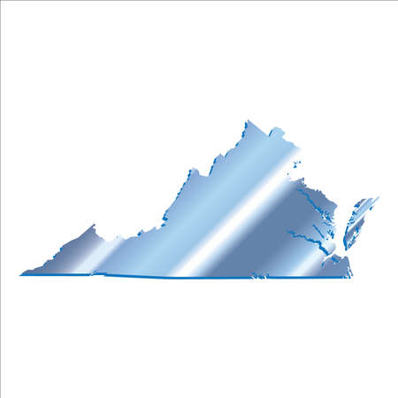 3d virginia: 3D Virginia State USA Iridium Blue outline map