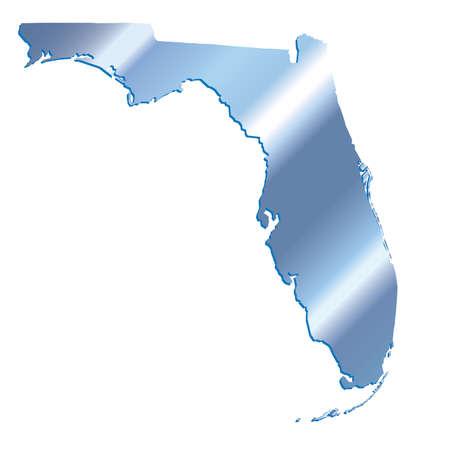shadows: 3D Florida (USA) Iridium Blue outline map with shadow