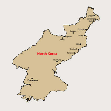 north korea: North Korea Simple outline map with Cities
