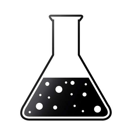 conical: Vector Black Conical Flask Chemical Icon Illustration