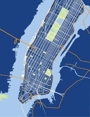 ニューヨーク シティ - を下げるし、マンハッタン - 中旬ベクトル地図青