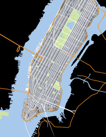 New York City - Lower and Mid Manhattan - Vector Map Aluminium