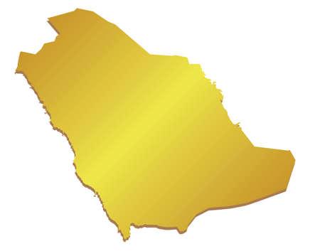 saudi: Vector 3D Gold Map of Saudi Arabia