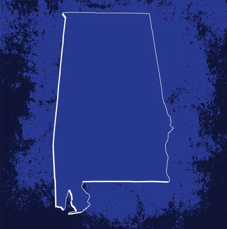 mercator: 3D Alabama (USA) Blueprint outline map with shadow