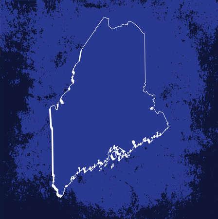 mercator: 3D Maine (USA) Grunge Blueprint Boundary map with shadow