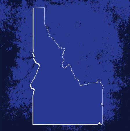 mercator: 3D Idaho State USA Grunge Blueprint outline map