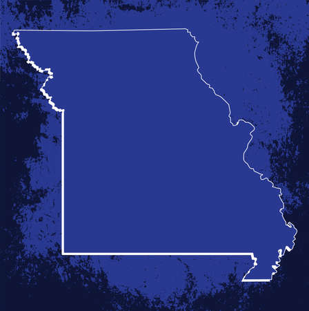 mercator: 3D Missouri (USA) Grunge Blueprint State map with shadow