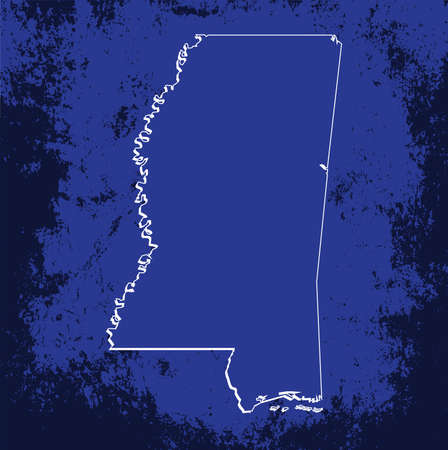 mercator: 3D Mississippi (USA) Grunge Blueprint map with shadow