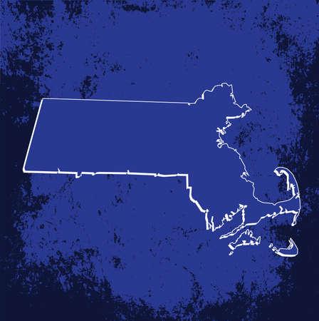 massachussets: 3D Massachussets (USA) Grunge Blueprint Boundary map with shadow Illustration