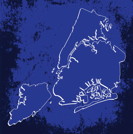 mercator: 3D New York (USA) Blueprint Grunge outline map with shadow