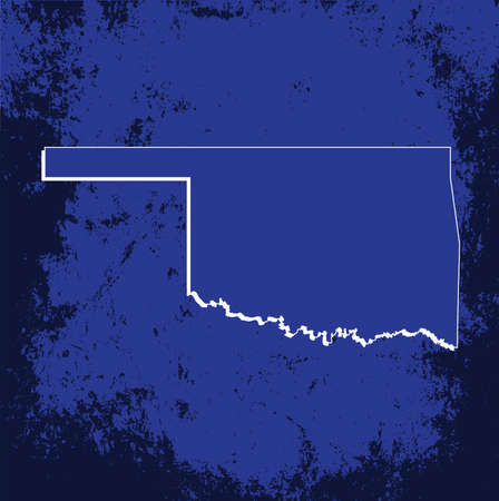 mercator: 3D Oklahoma State Blueprint Grunge outline map with shadow