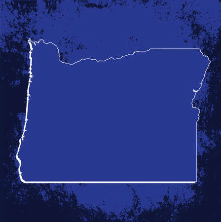 oregon: 3D Oregon State Blueprint Grunge outline map with shadow
