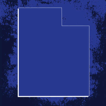 utah: 3D Utah (USA) Blueprint Grunge outline map with shadow