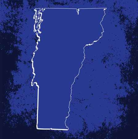 mercator: 3D Vermont (USA) Blueprint Grunge outline map with shadow