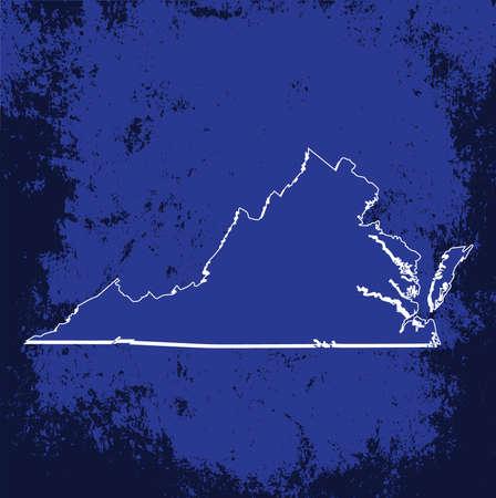 3d virginia: 3D Virginia State USA Blueprint Grunge outline map Illustration