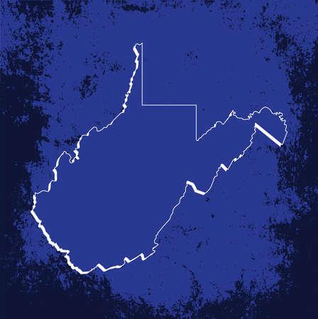 3d virginia: 3D West Virginia (USA) Blueprint Grunge outline map with shadow