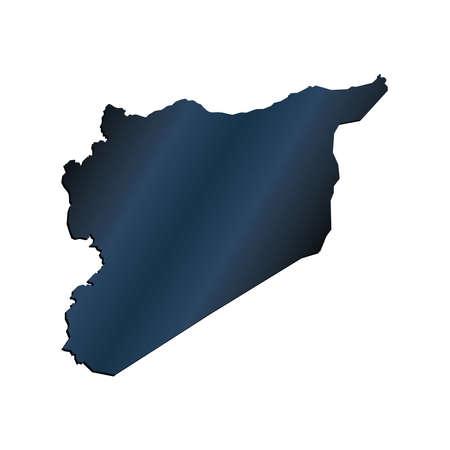3D Syria Map Carbon Border Outline Illustration