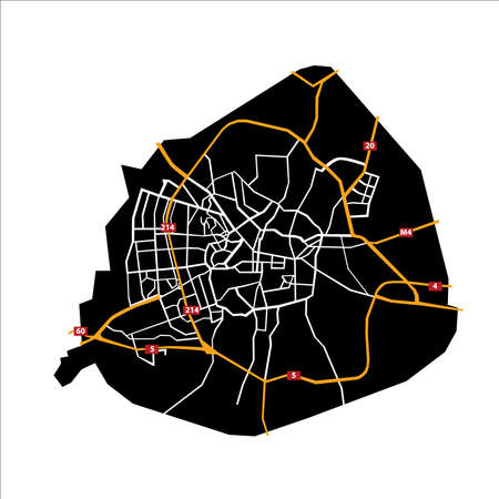 Detailed Black Map of Aleppo with Main streets and Roads
