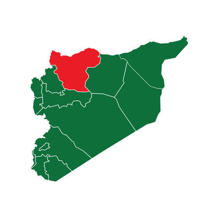 green and red: Syria State Boundaries Map Green & Red