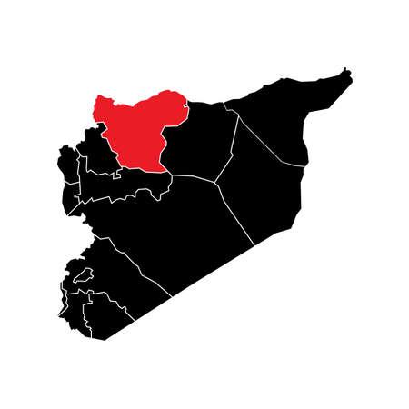 Syria State Boundaries Map Black & Red