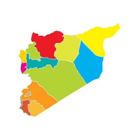 boundaries: Syria State Boundaries Map Bright Colours Illustration