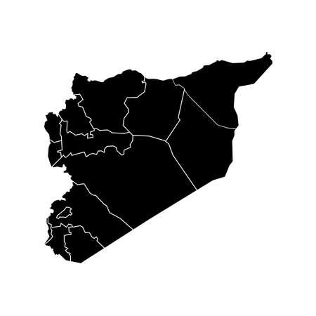 Syria: Vector Syria State Boundaries Map Black