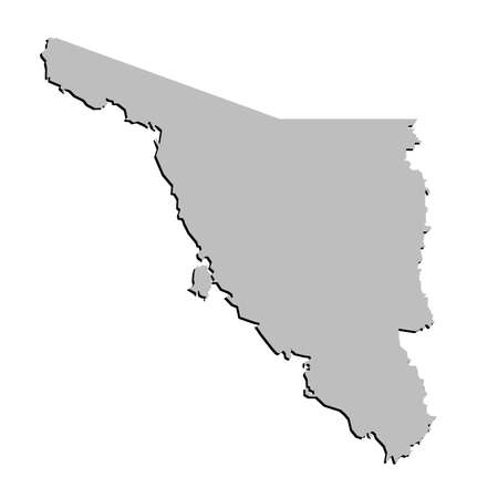 counties: 3D Sonora, Mexico State Outline Grey Map