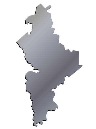 leon: 3D Nuevo Leon, Mexico State Map Aluminium Vector Illustration
