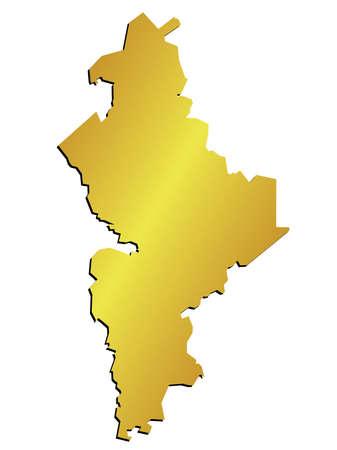 leon: 3D Nuevo Leon, Mexico State Map Gold Vector