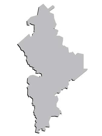 leon: 3D Nuevo Leon, Mexico State Map Grey Vector