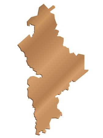 leon: 3D Nuevo Leon, Mexico State Map Pearl Vector Illustration