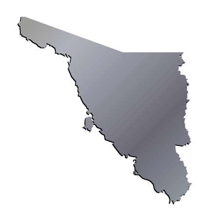 sonora: 3D Sonora, Mexico State Outline Aluminium Map