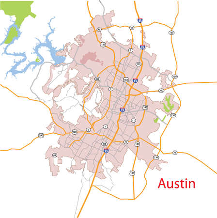 Austin, Texas, USA Detailed Vector Map