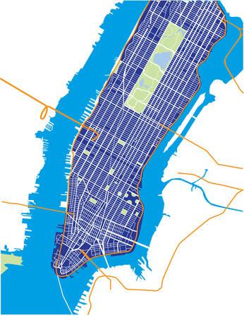 New York City - Lower and Mid Manhattan - Vector Map Dark Blue Illustration